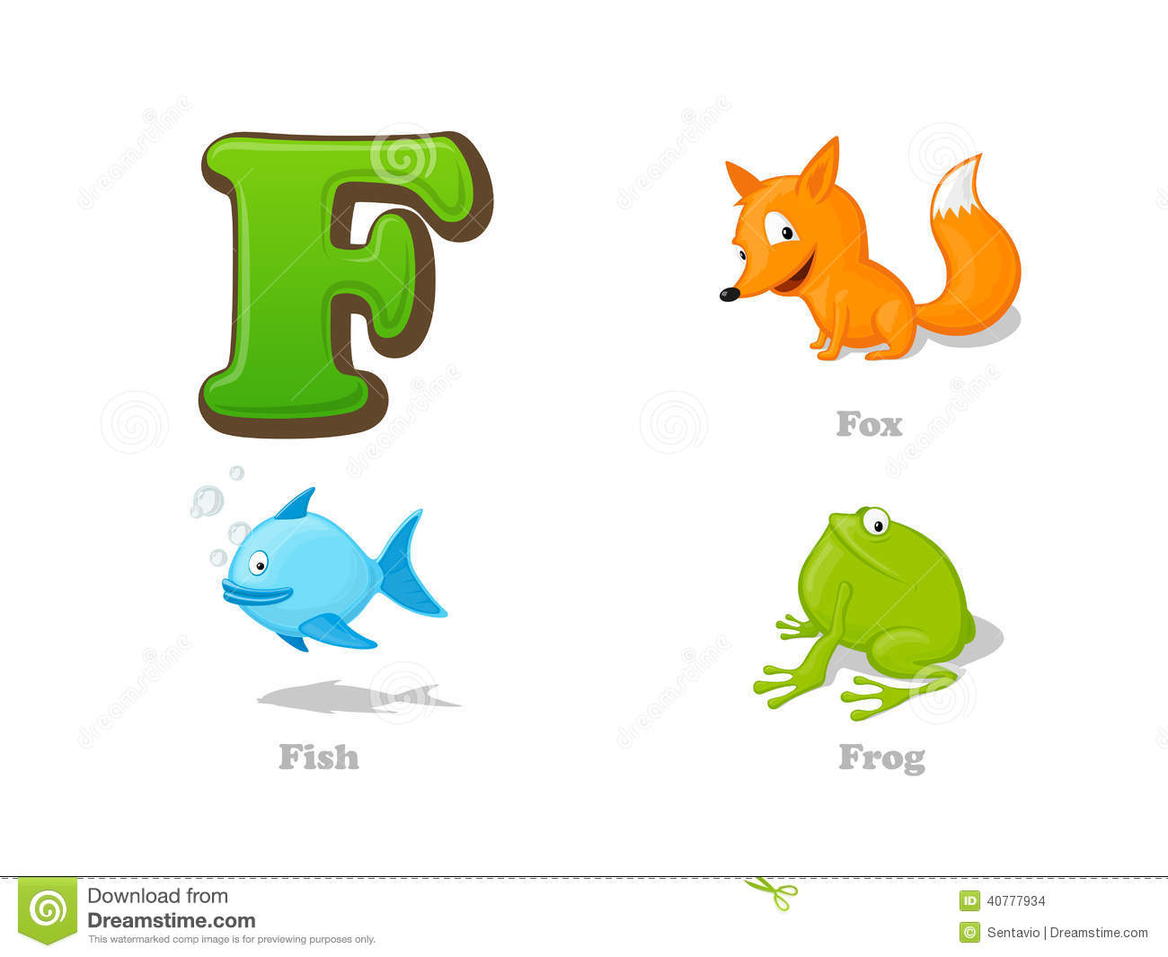 Abc Letter F Funny Kid Icons Set Fox Fish Frog Stock Vector