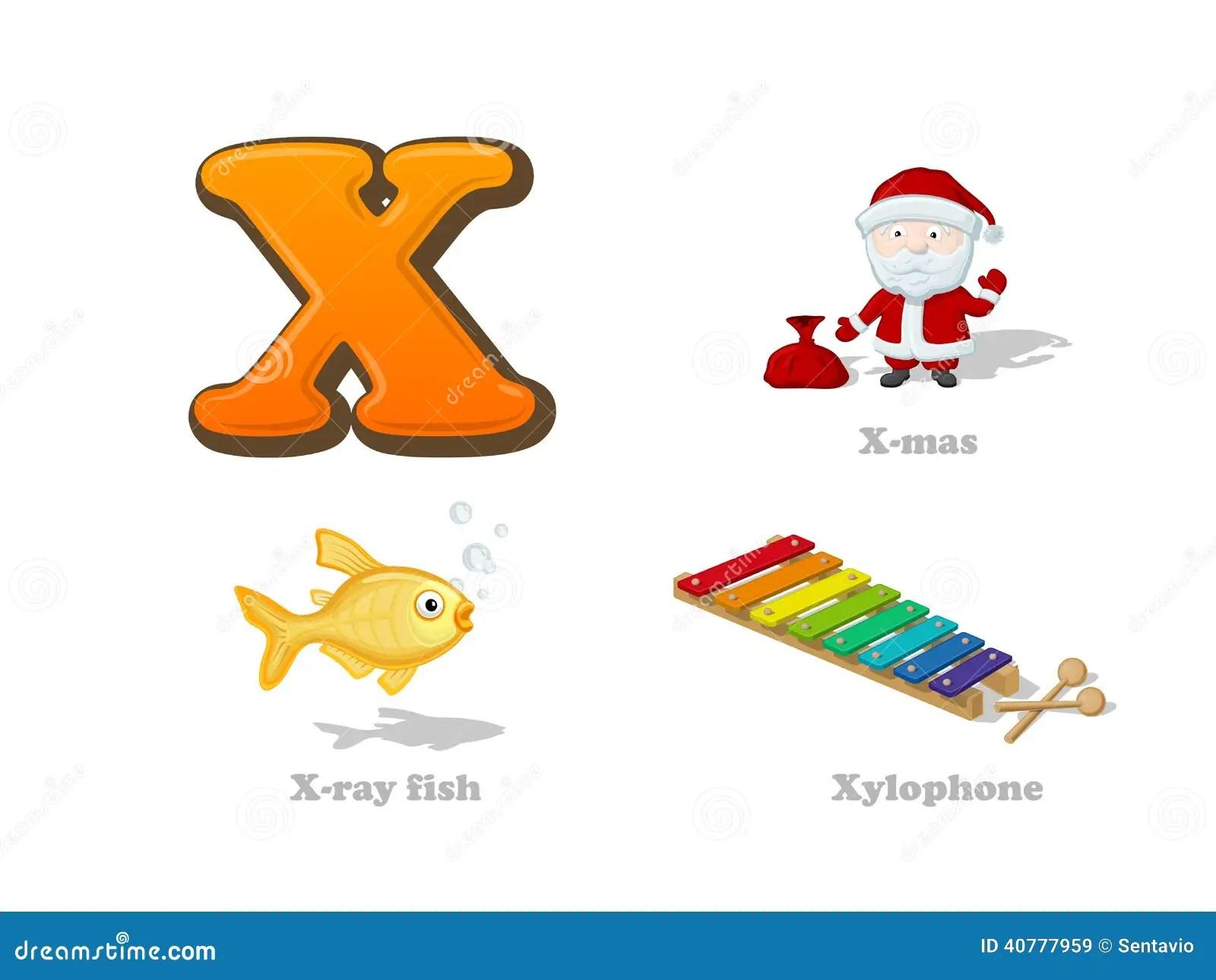 Abc Letter X Funny Kid Icons Set X Mas X Ray Fish