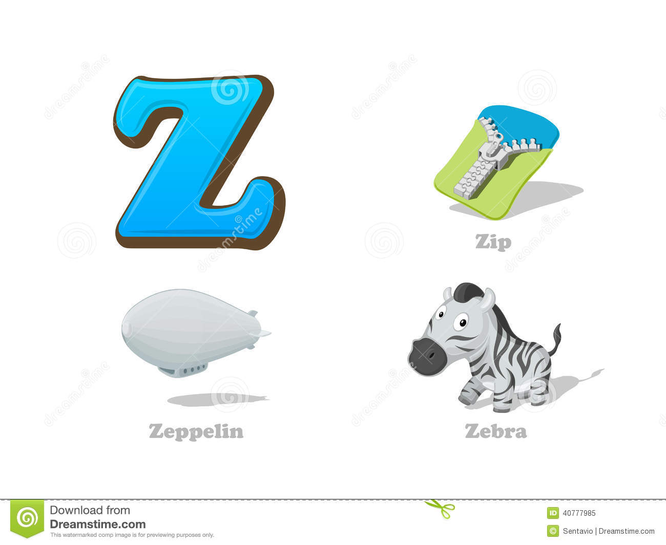 Abc Letter Z Funny Kid Icons Set Zebra Zip Zeppelin
