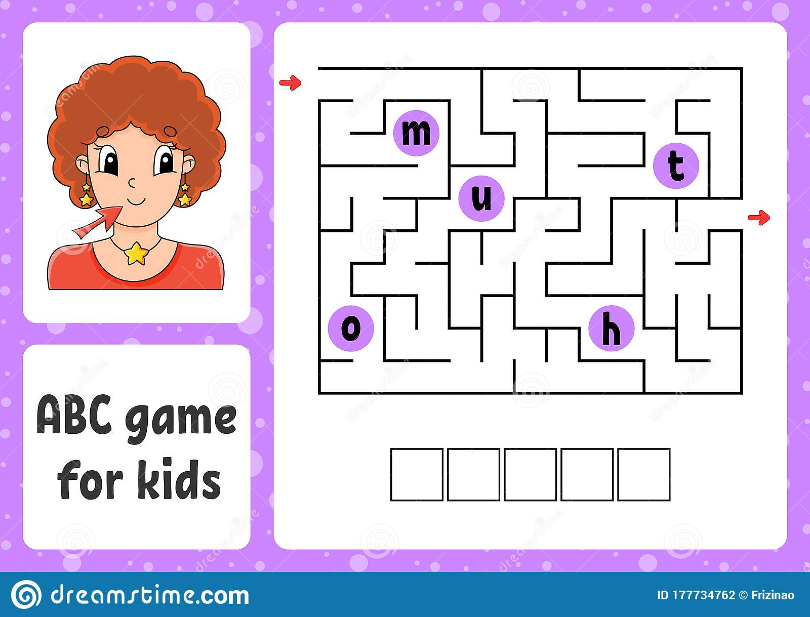Abc Maze For Kids Answer Mouth Rectangle Labyrinth