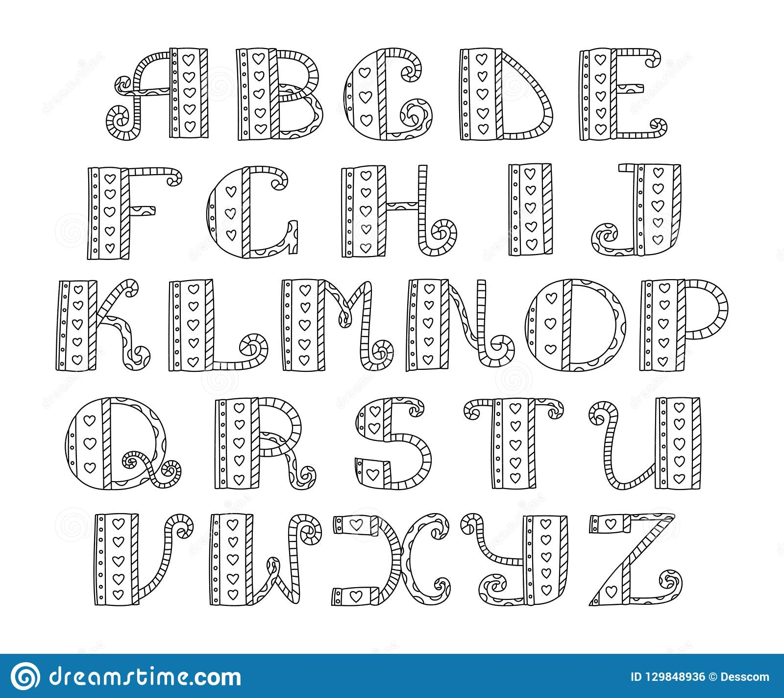 Abc Vector Hand Drawn Alphabet Doodle Lettering