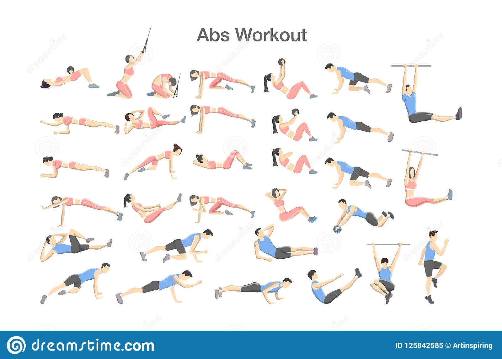Abs Workout For Men And Women Sport Exercises Stock