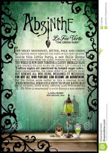Absinthe Original Poetry Poster Stock Illustration