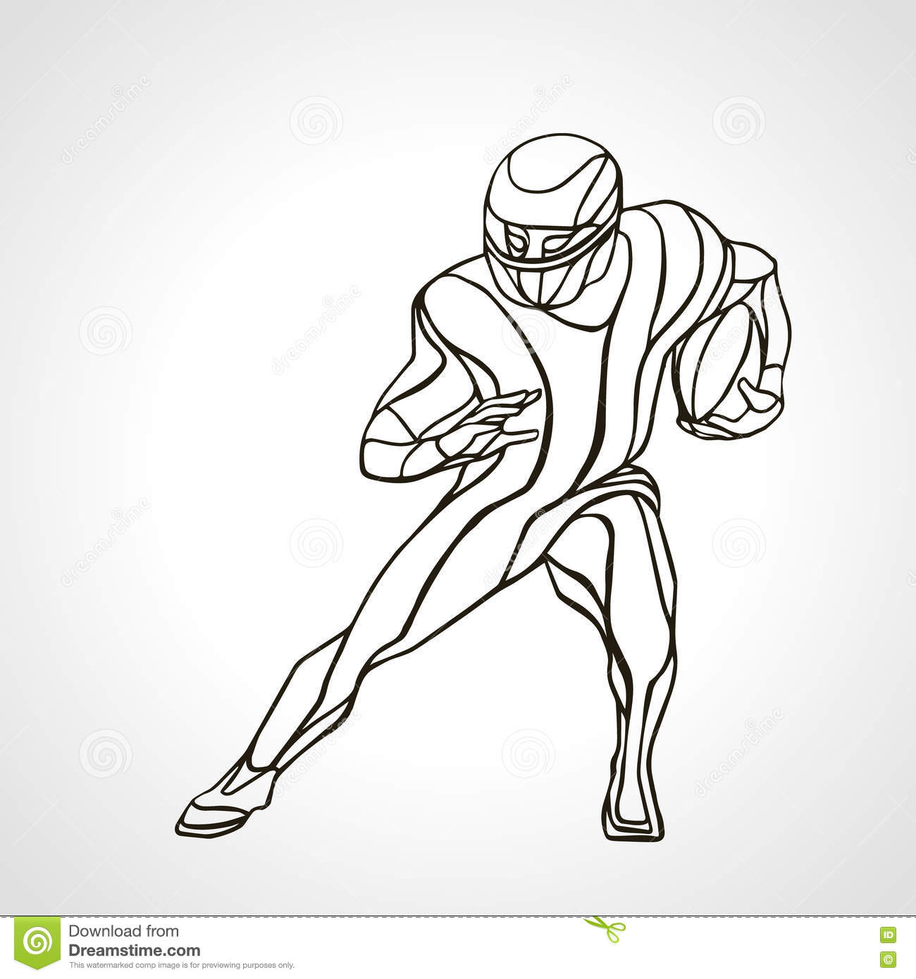 Abstract American Football Player Silhouette Vector