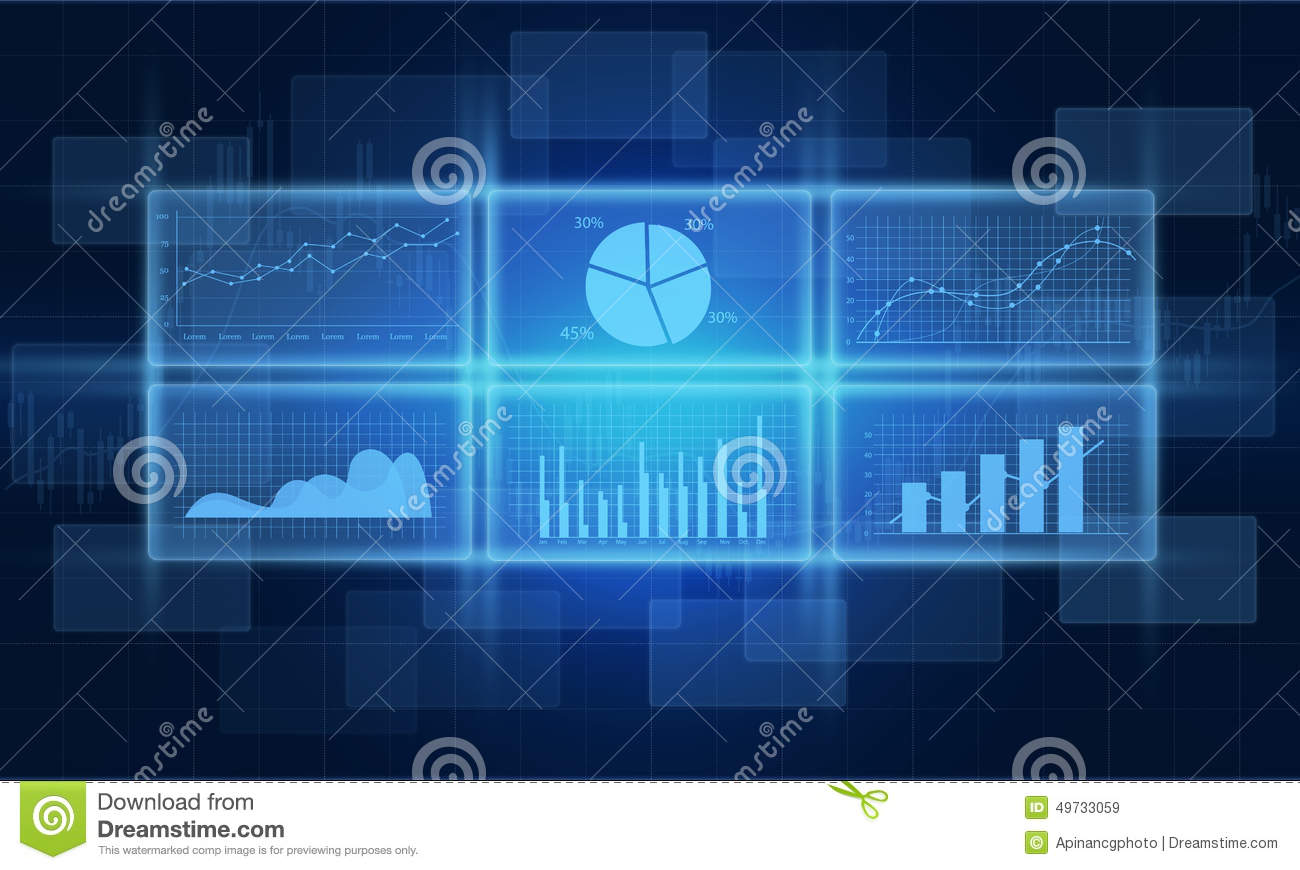 Abstract Analysis Background Blue Business Chart Computer Concept Currency Data Design