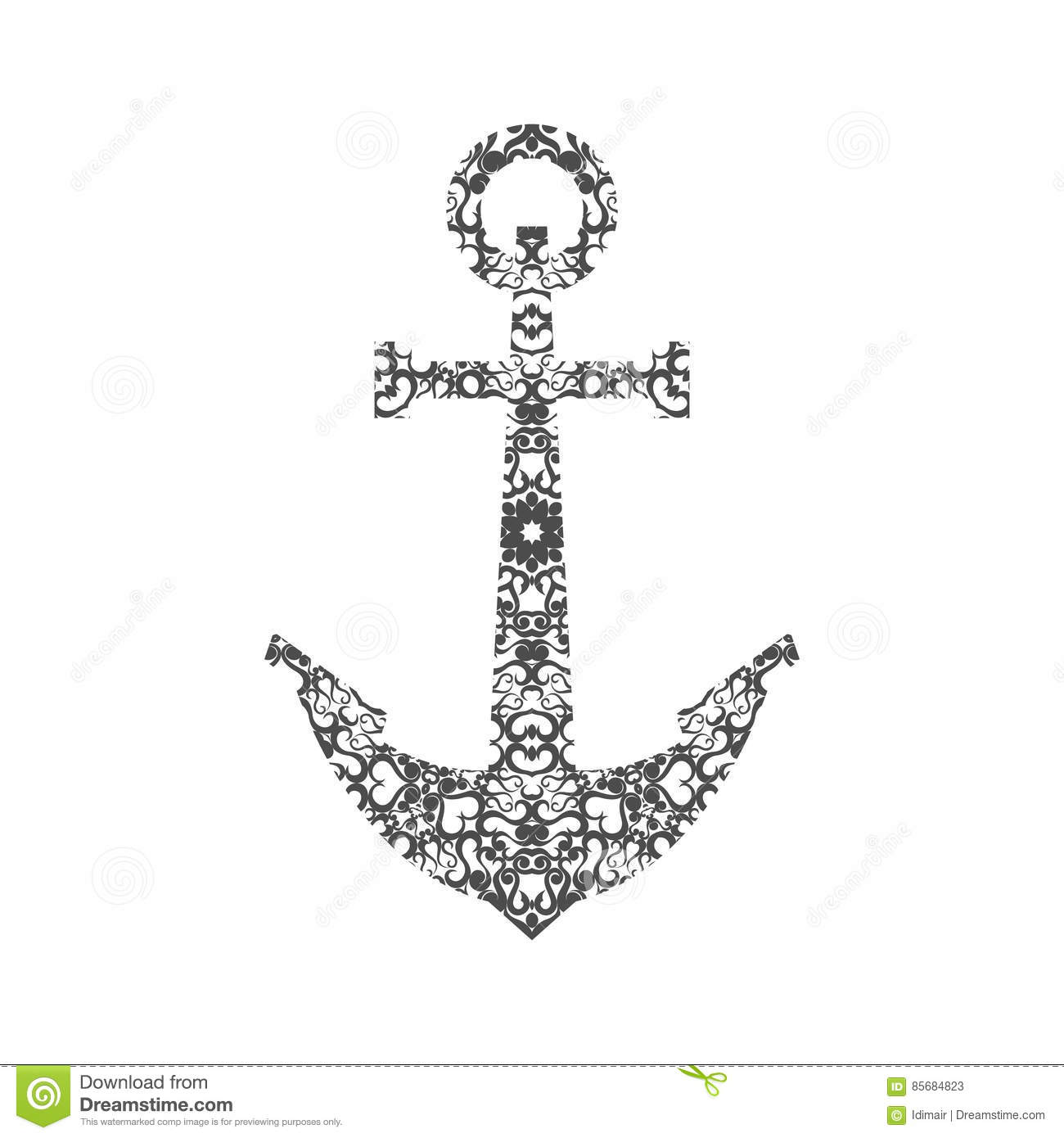 Abstract Anchor Silhouette With Pattern Vector Cartoon