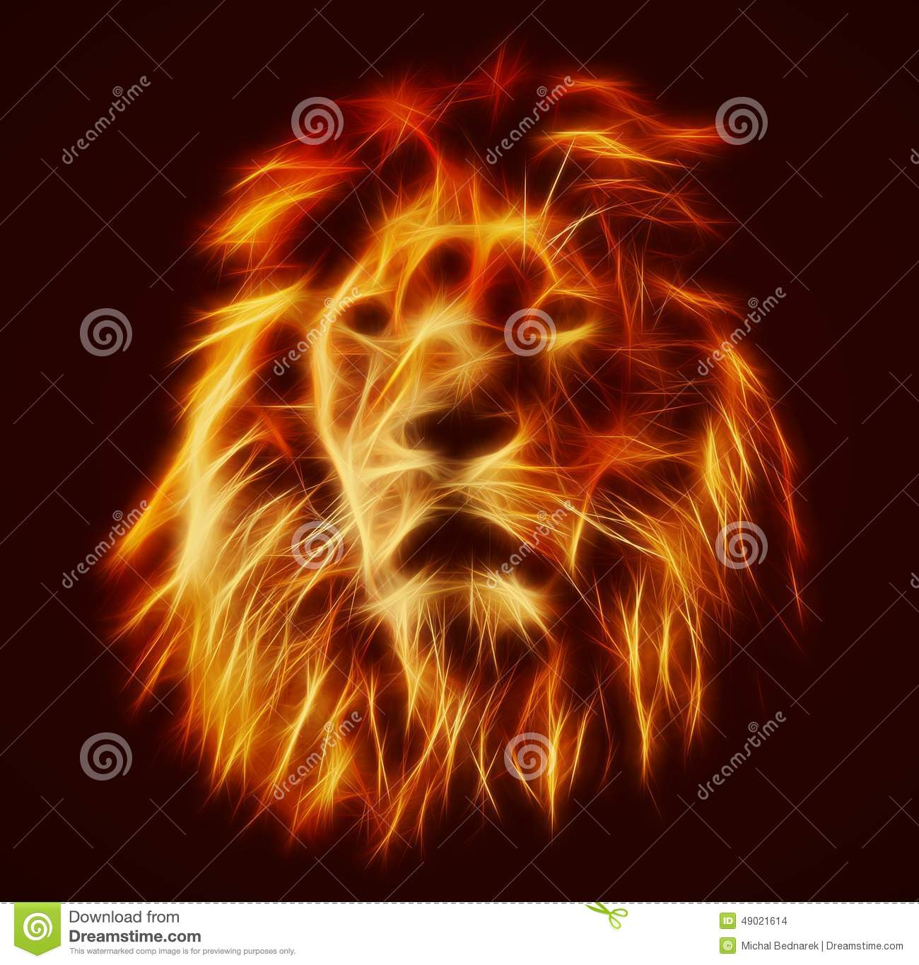 Sikh Animated Wallpaper Abstract Artistic Lion Portrait Fire Flames Fur Stock