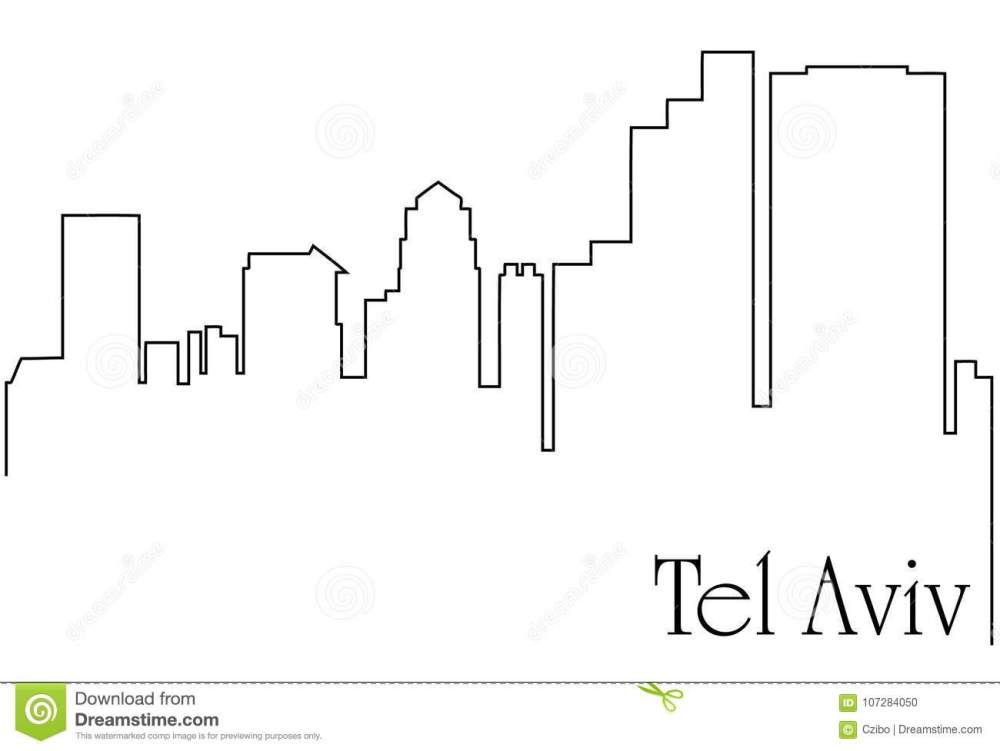 medium resolution of tel aviv city one line drawing abstract background