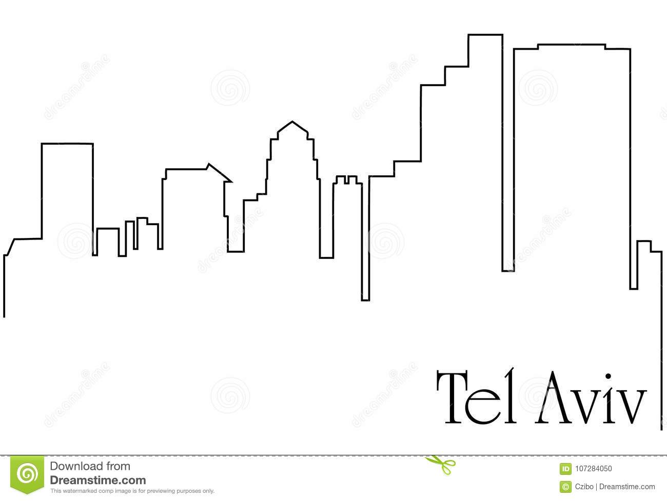 hight resolution of tel aviv city one line drawing abstract background