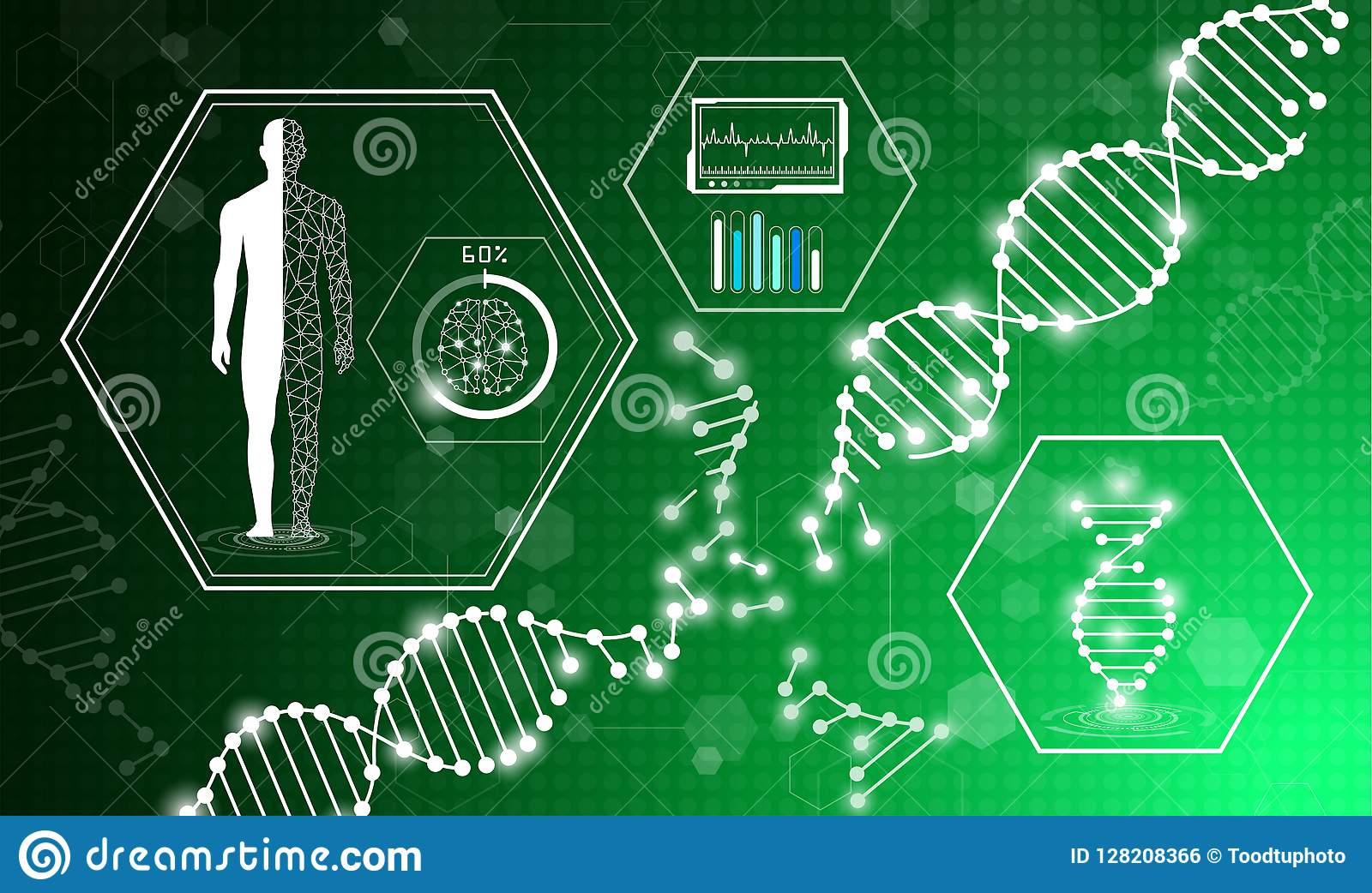 hight resolution of abstract background technology concept in green light human body heal technology modern medical science in future and global international medical with