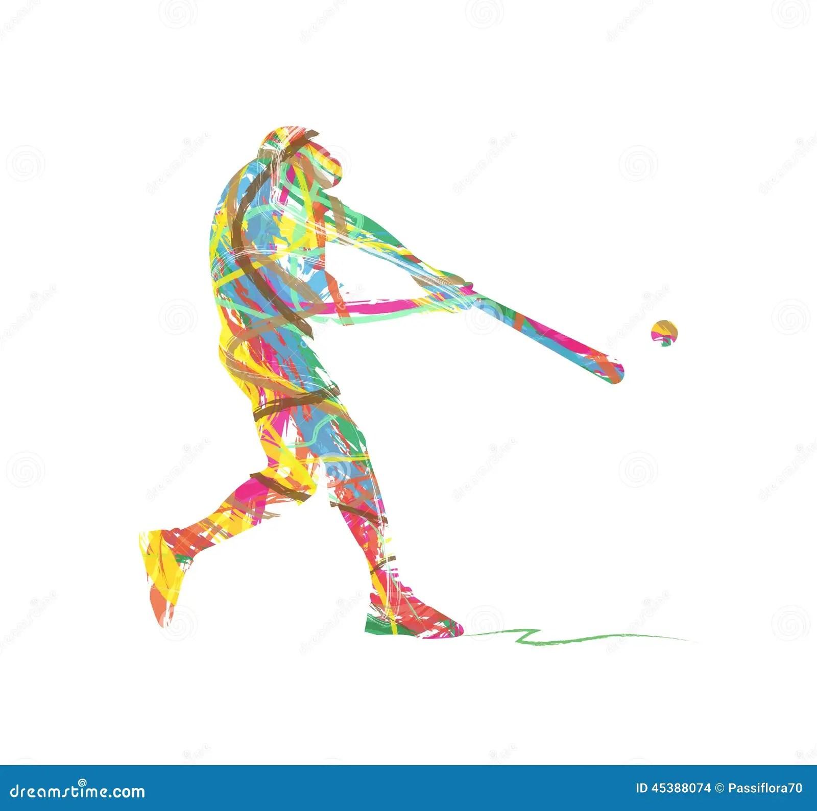 Abstract Baseball Sport Silhouette Stock Vector