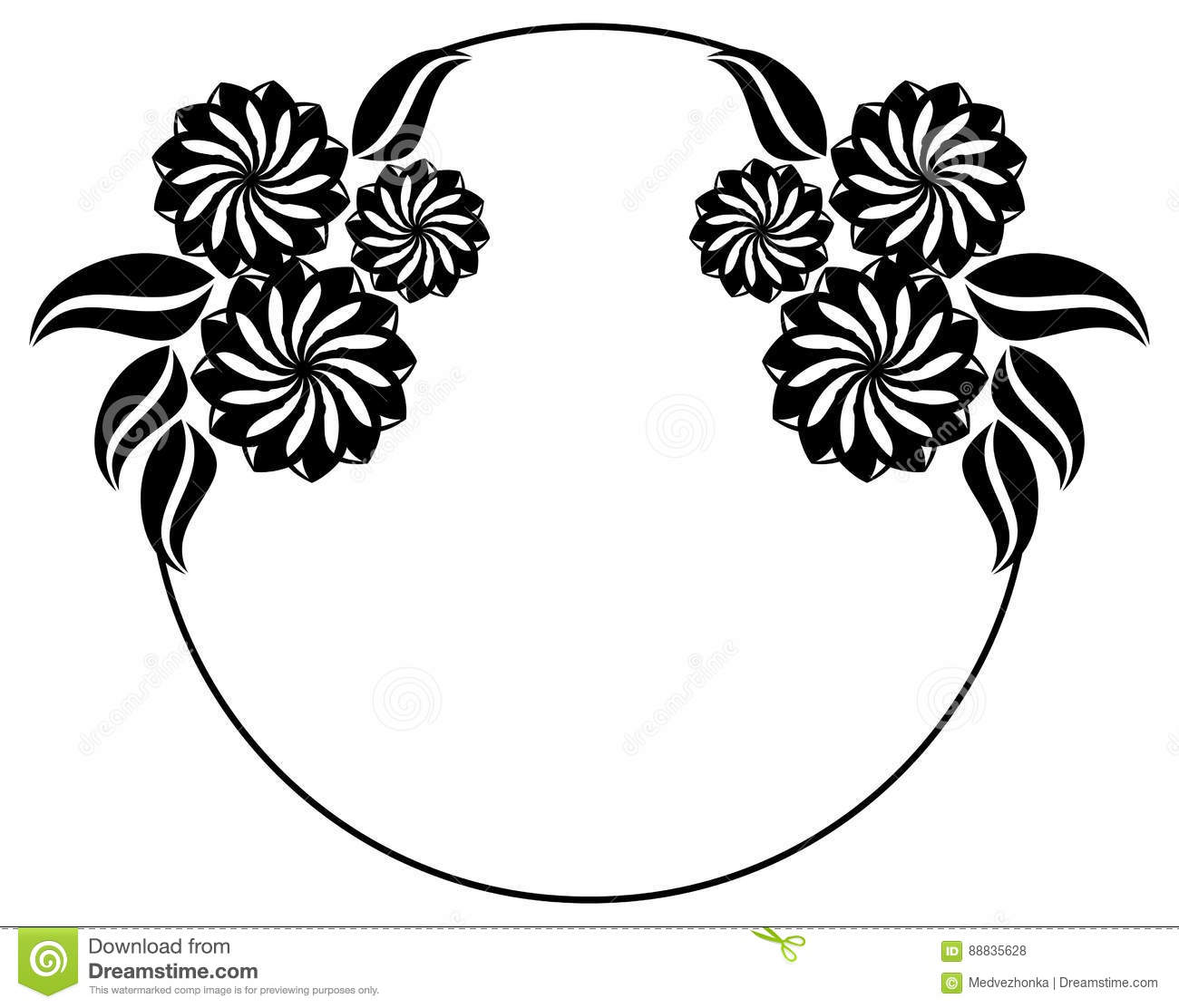 Abstract Black And White Ornament With Decorative Flowers