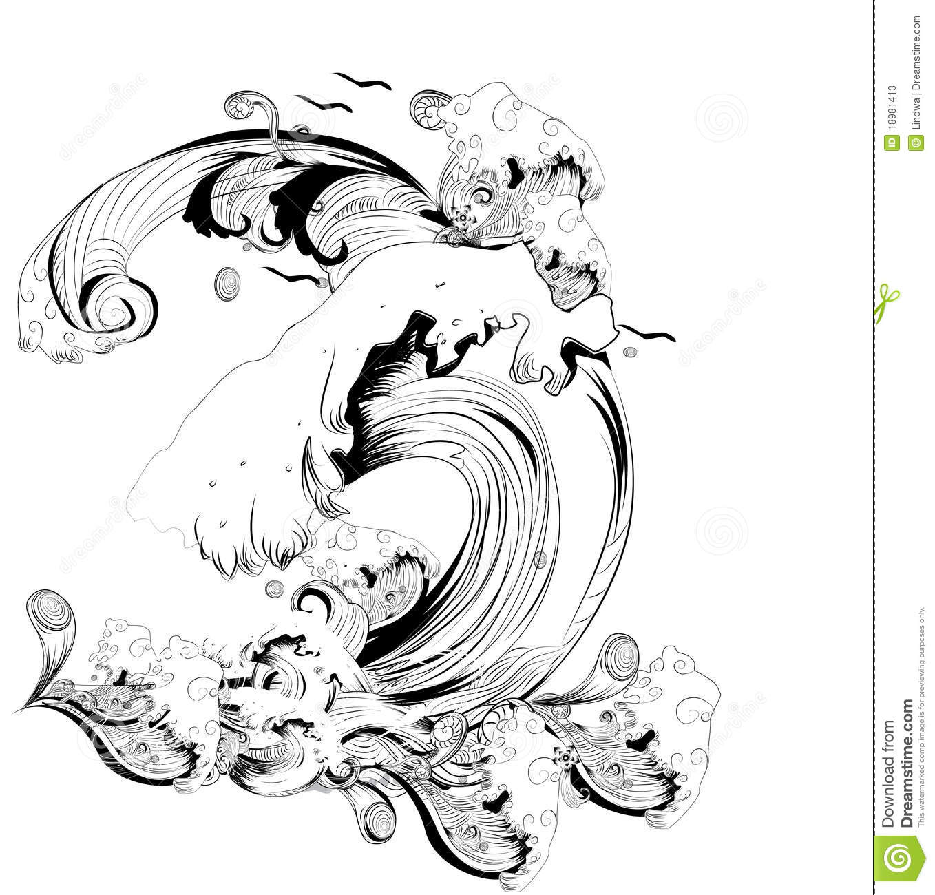 Abstract Black And White Waves Stock Illustration