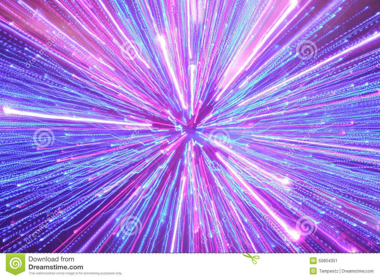 Abstract Blue Pink And Purple Lighting Streaks Stock