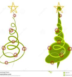 a clip art illustration of your choice of 2 abstract christmas trees made of simple doodled lines in green with decorations [ 1300 x 1130 Pixel ]