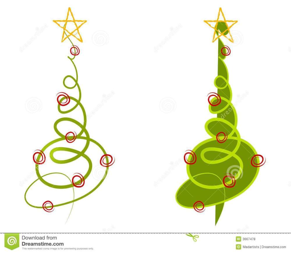 medium resolution of a clip art illustration of your choice of 2 abstract christmas trees made of simple doodled lines in green with decorations