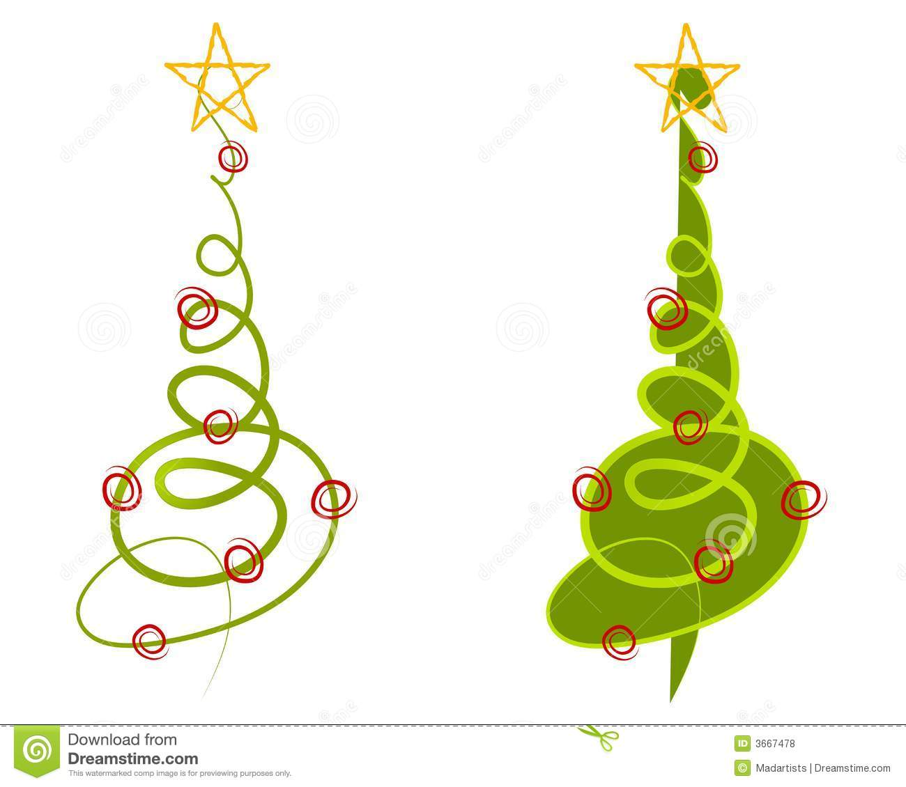 hight resolution of a clip art illustration of your choice of 2 abstract christmas trees made of simple doodled lines in green with decorations