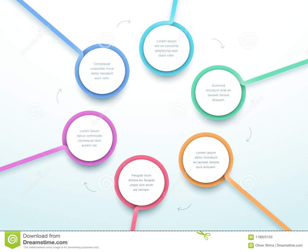 hight resolution of abstract vector 6 step cycle diagram made of colorful 3d circle frames with blank white space for text on a subtle gradient background made in illustrator