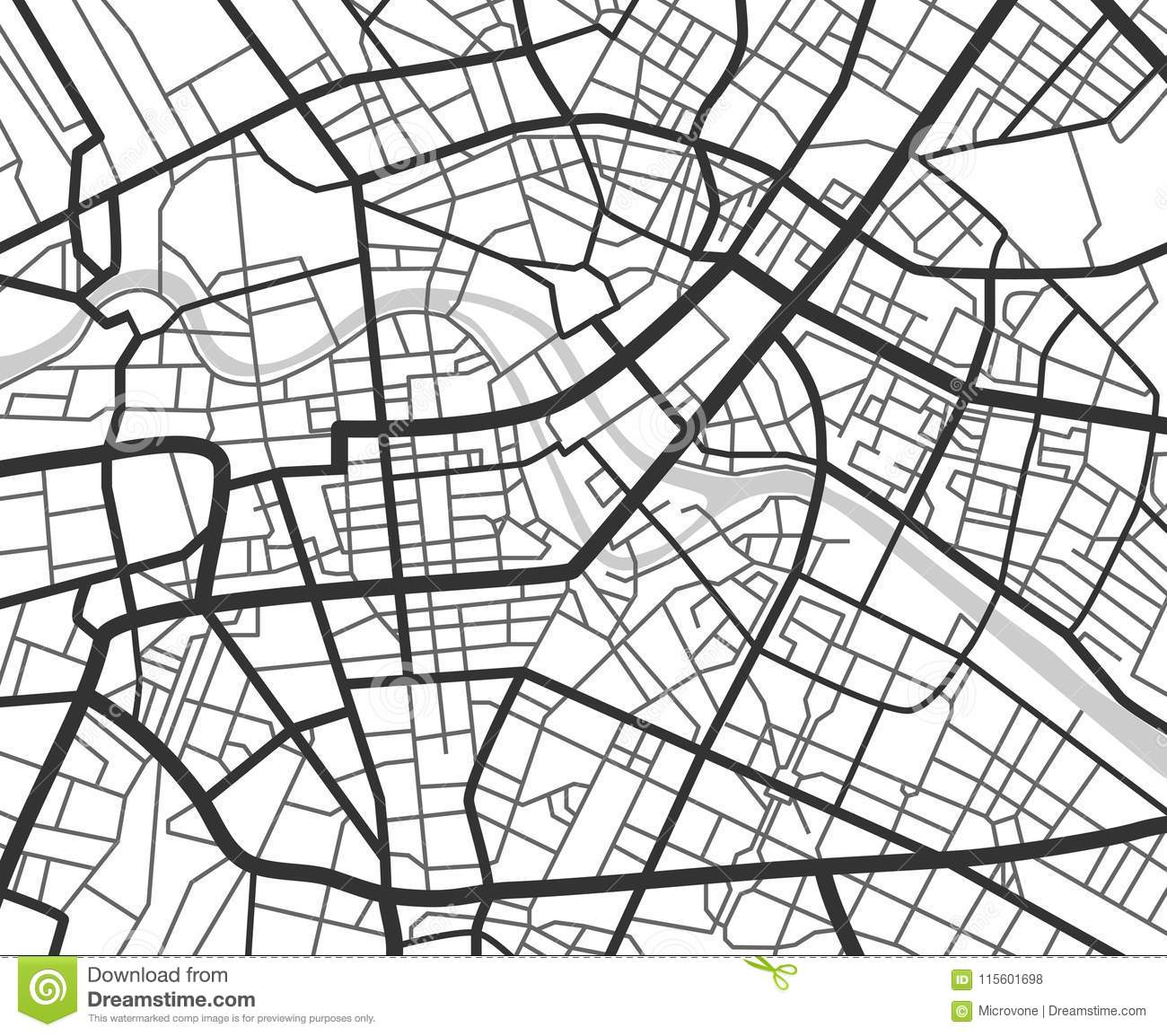 Abstract City Navigation Map With Lines And Streets