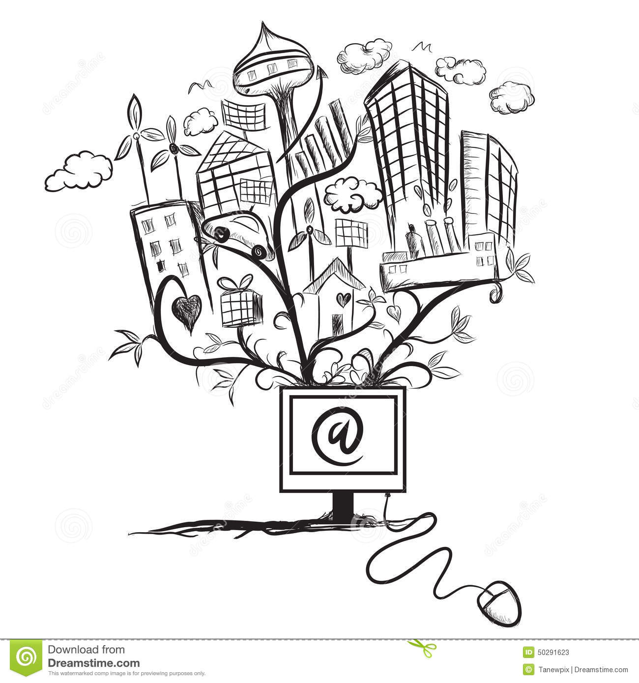 Abstract Cityscape With Green Technology Drawing Concept