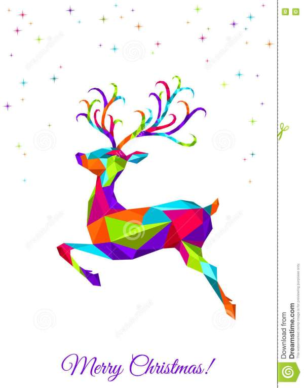 Abstract Colorful Poly Triangle Deer White