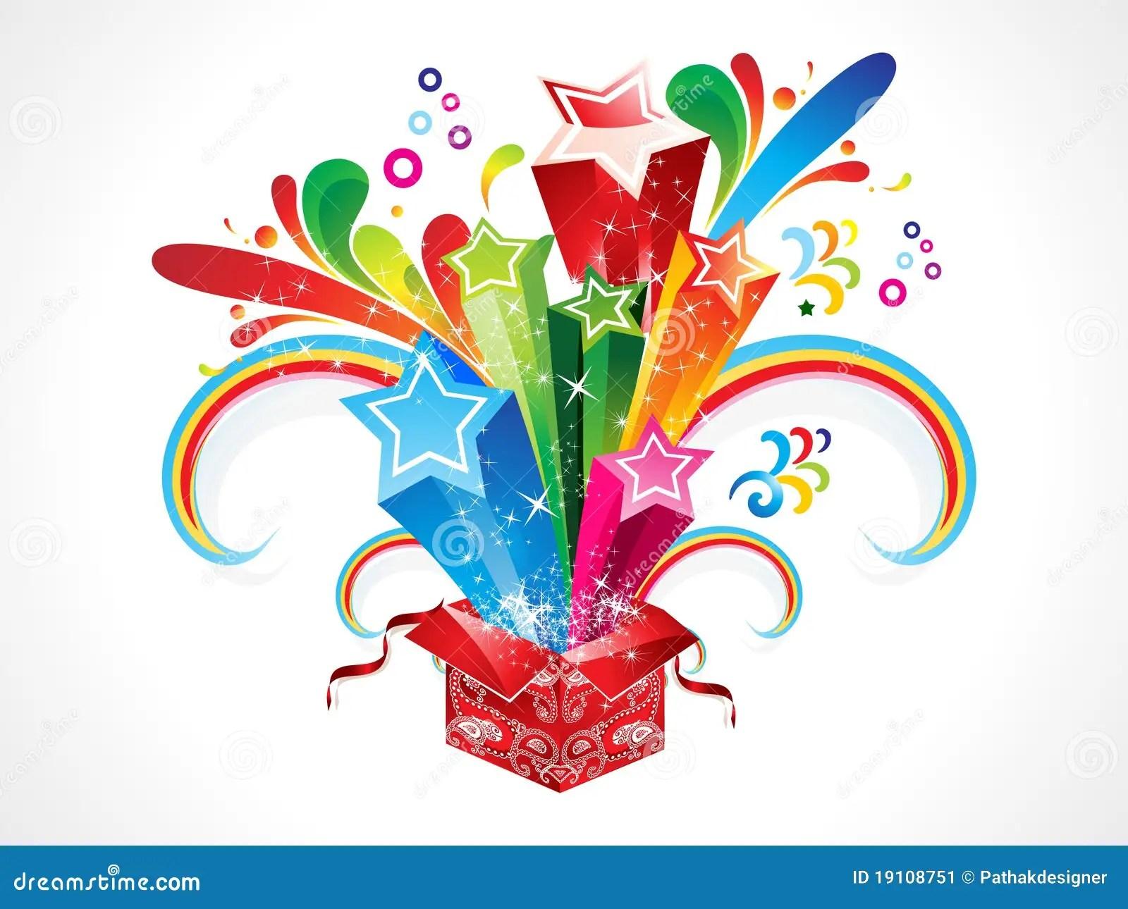 Abstract Colorful Magic Box Cartoon Vector Cartoondealer