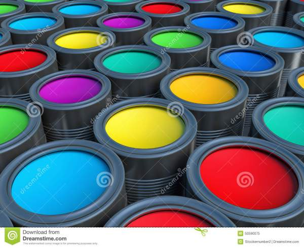 Abstract Concept. Group Of Tin Metal Cans With Color Paint Dye Stock Illustration - 50590075