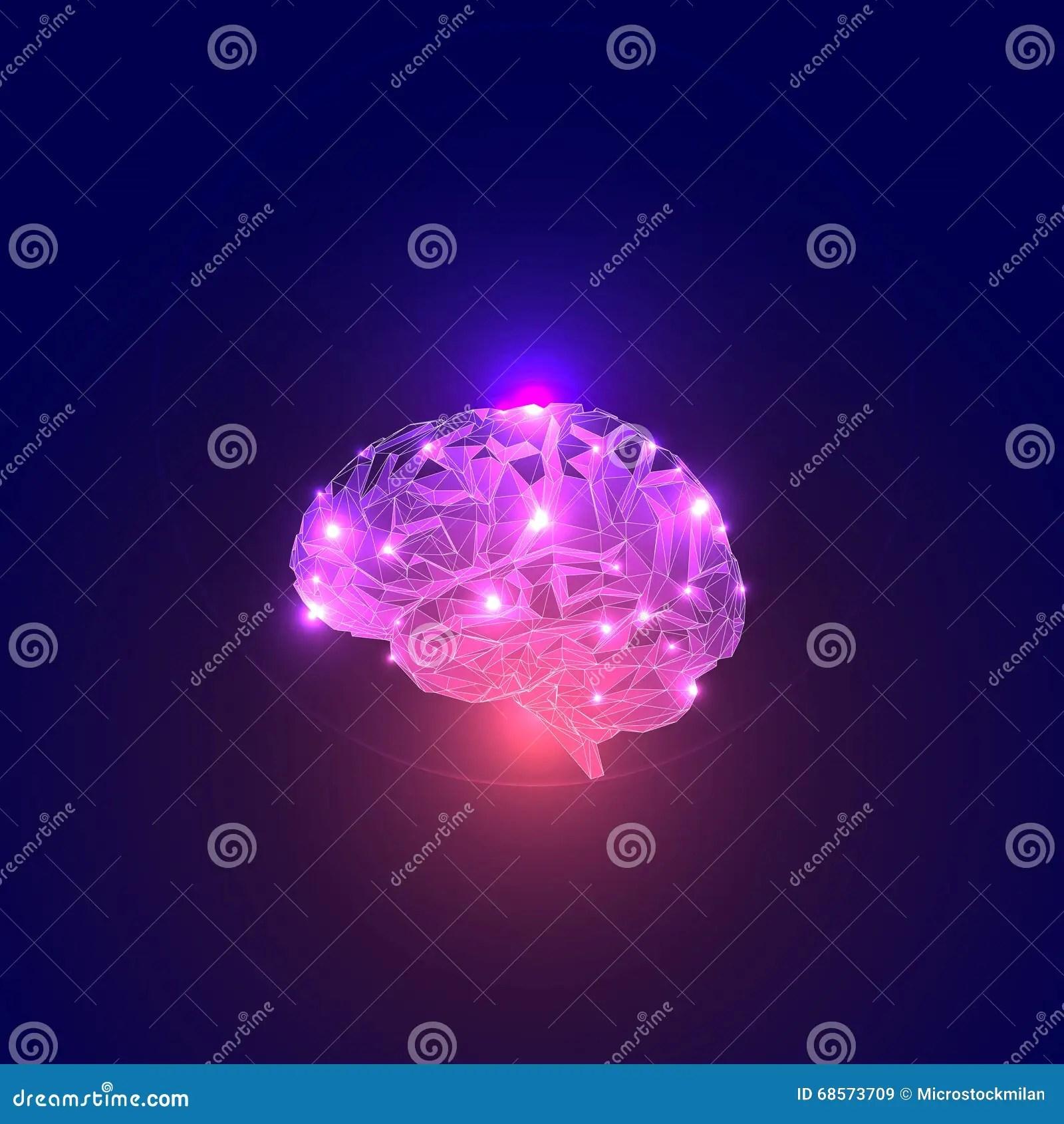 Abstract Concept Of Human Brain Activity Cartoon Vector