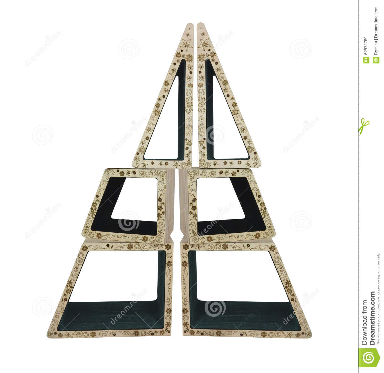 Abstract Creative Christmas Tree From Wooden Geometric
