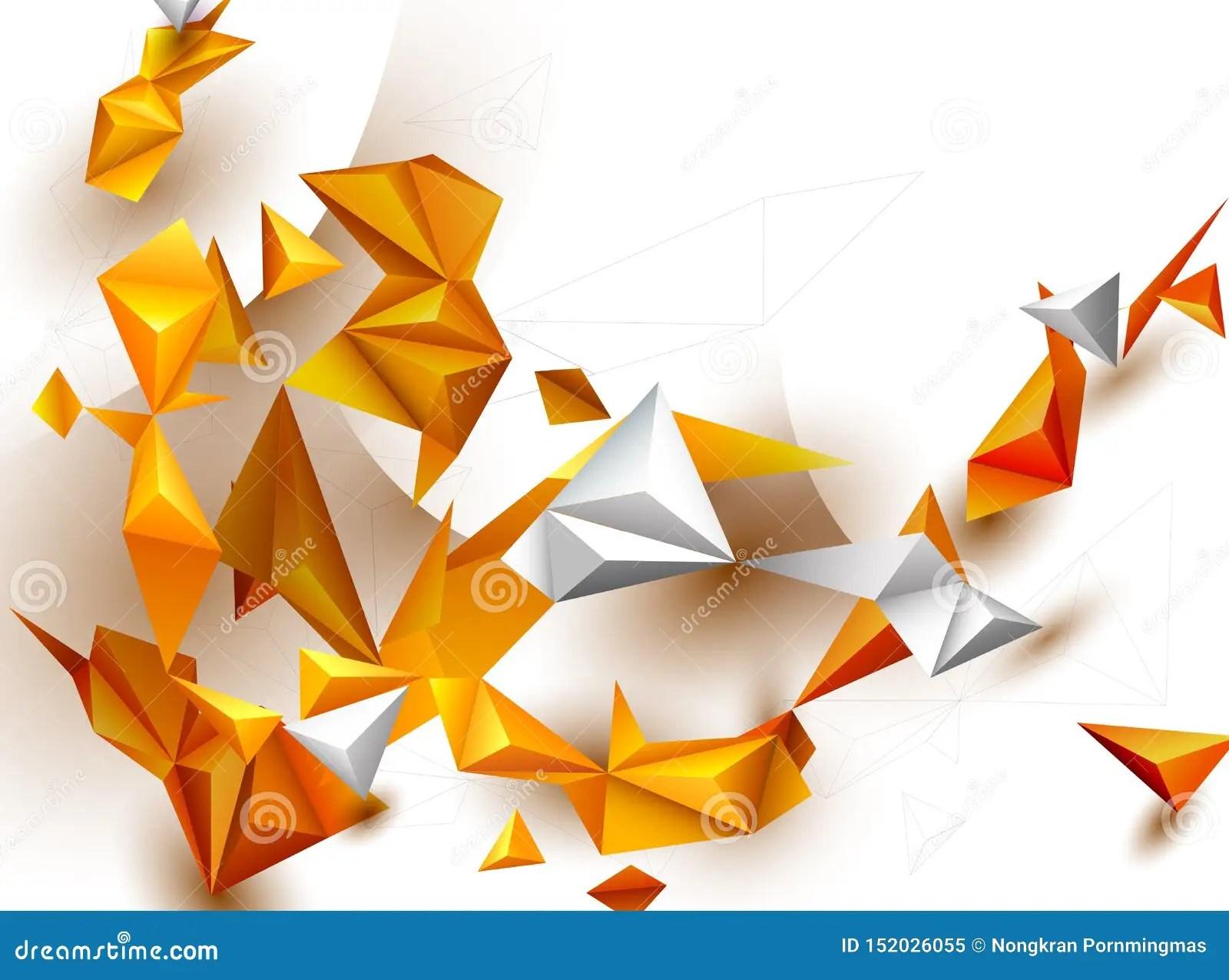 Abstract 3d Geometric Polygon Yellow Orange Gra Nt