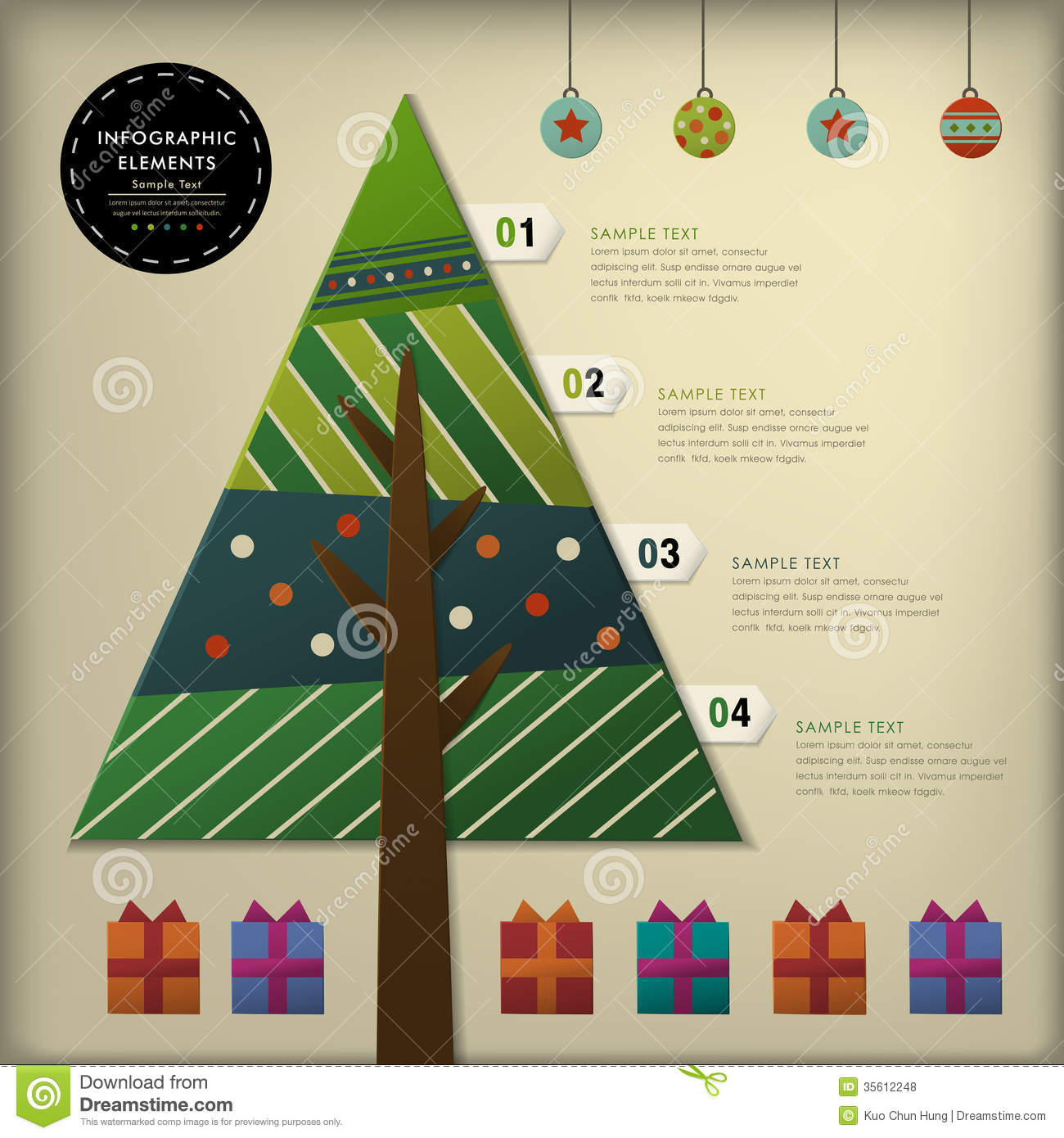 Abstract 3d Paper Christmas Tree Infographics Stock Vector