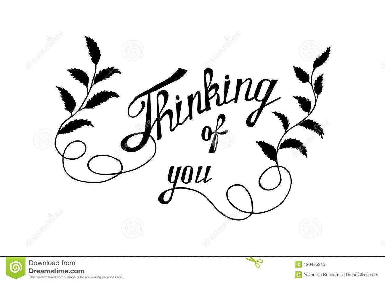 Thinking Of You Hand Lettering Card Stock Vector