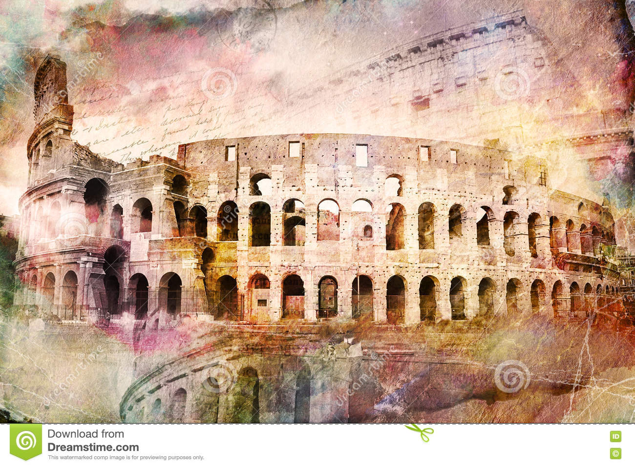 Abstract Digital Art Of Colosseum Rome Old Paper
