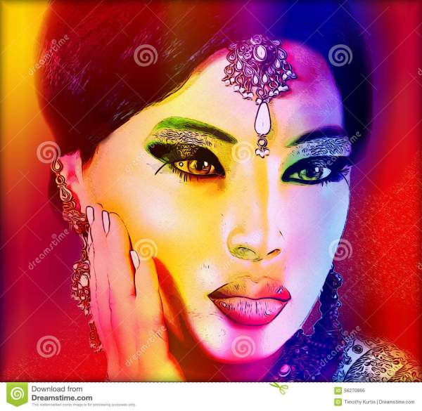 Abstract Digital Art Of Indian Asian Woman' Face Close With Colorful Make . Stock