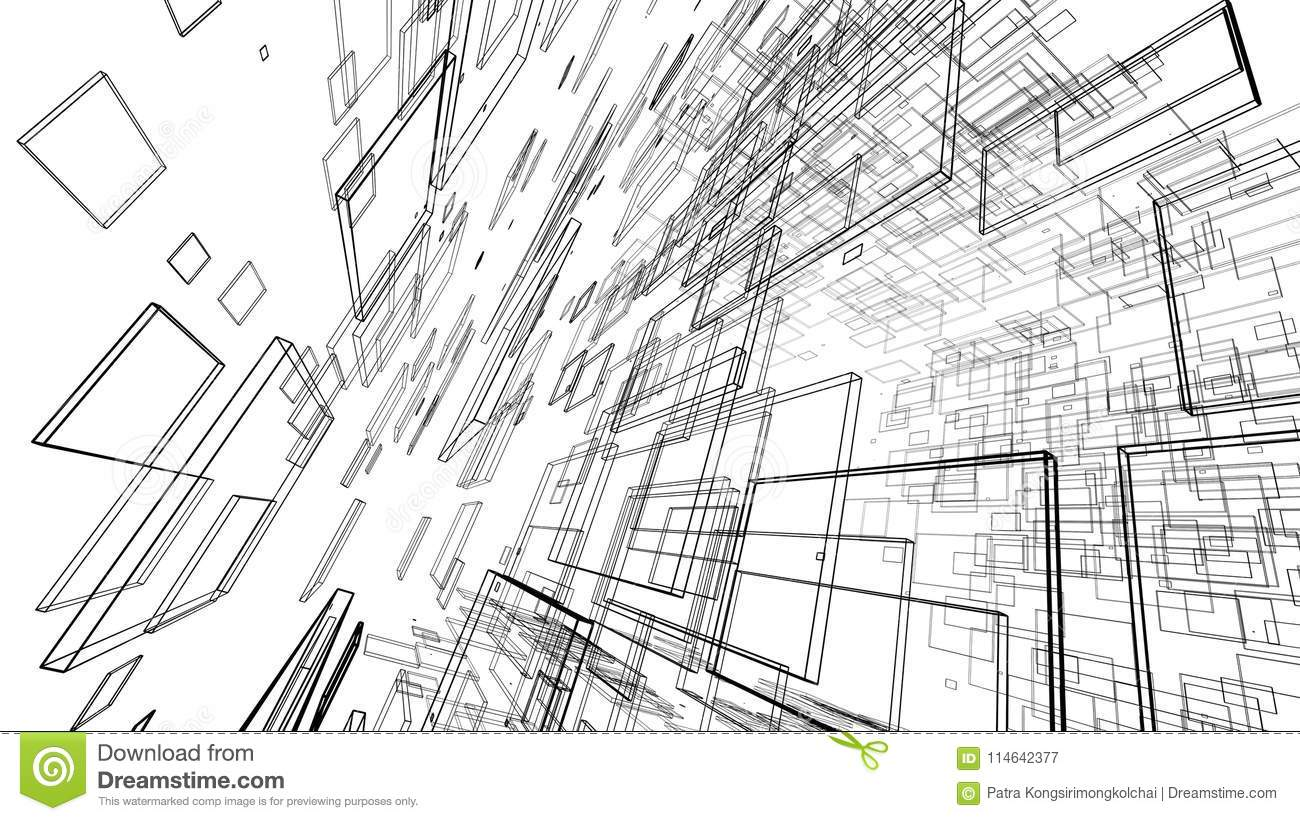 Abstract Drawing Lines In Architectural Art Concept On