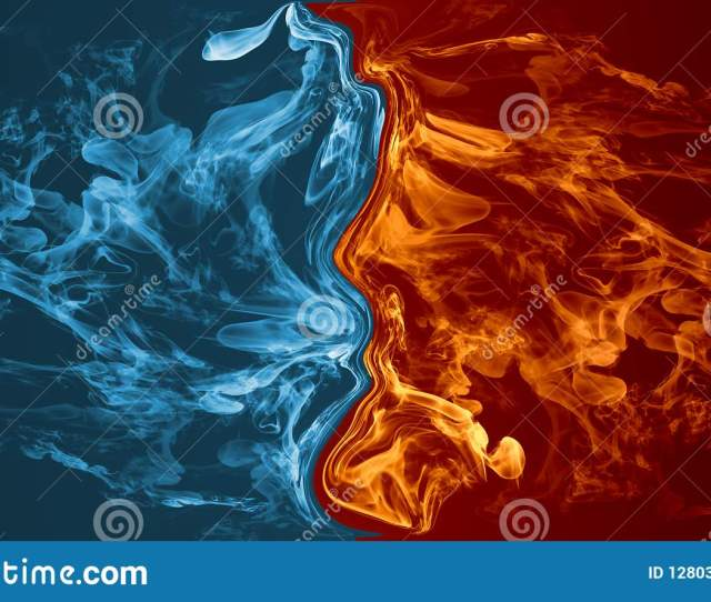 Abstract Fire And Ice Element Against Vs Each Other Background