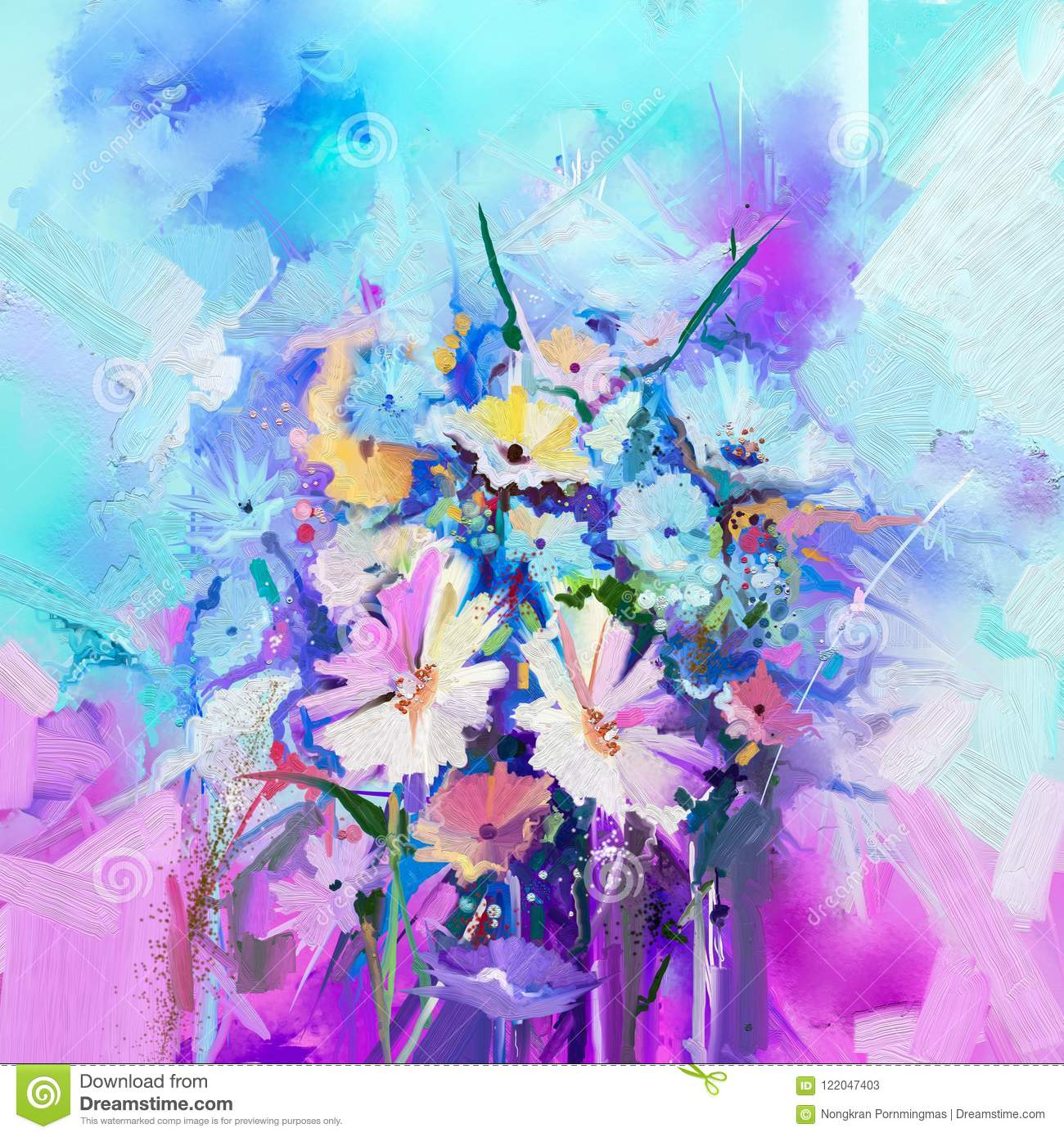Abstract Floral Oil Color Painting Flower Paintings On