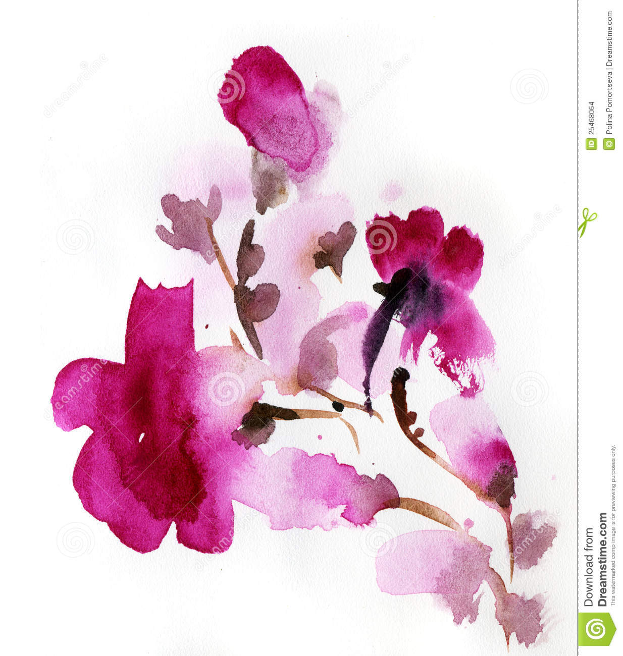 abstract floral watercolor stock