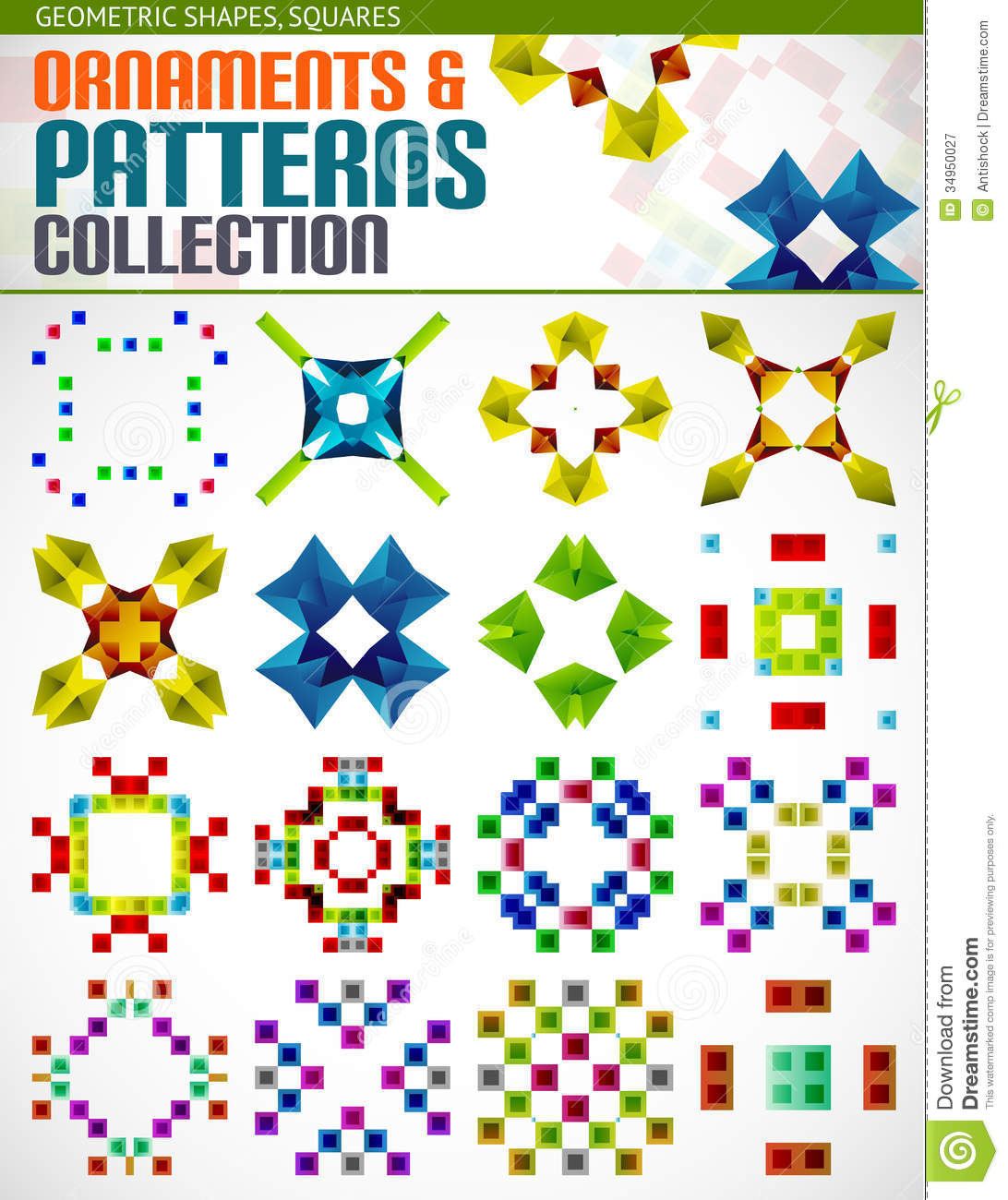Abstract Geometric Square Patterns Shapes Set Stock Vector