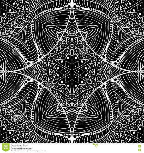 Abstract Gothic Black Lacy Seamless Pattern. Vintage Mono