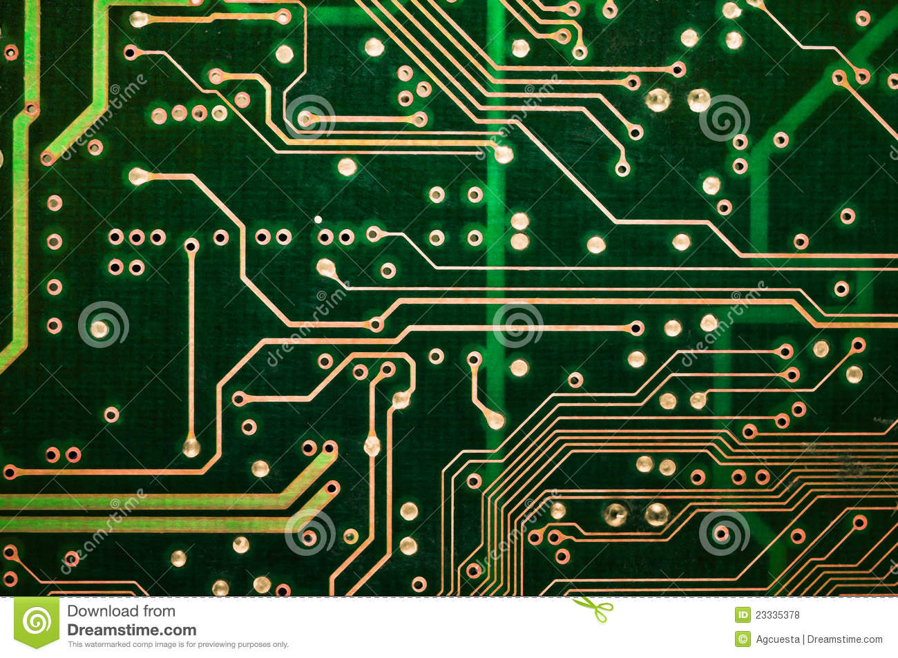 Pcb Tracks And Connections On Green Circuit Board