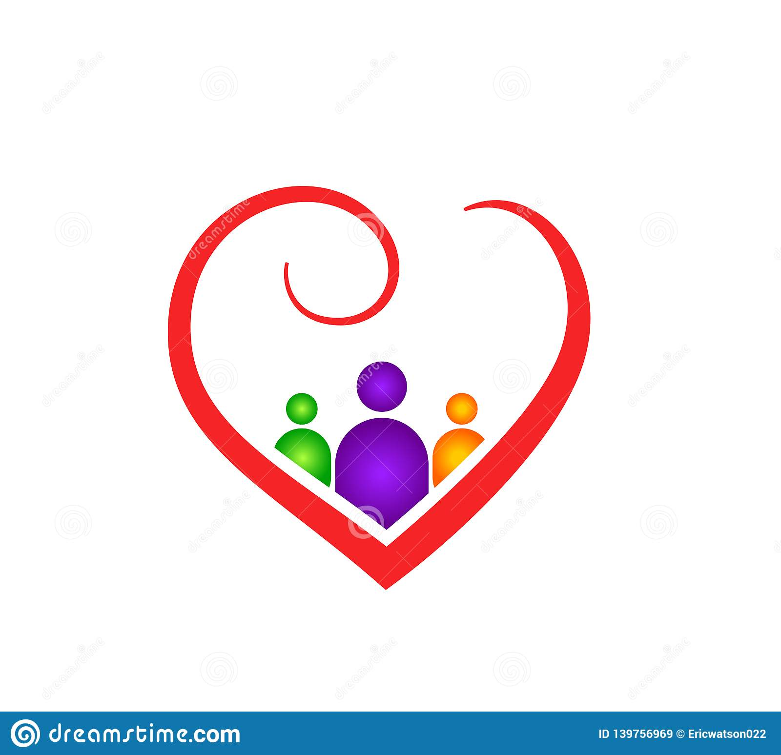 Abstract Heart Shape Outline With People Inside Family