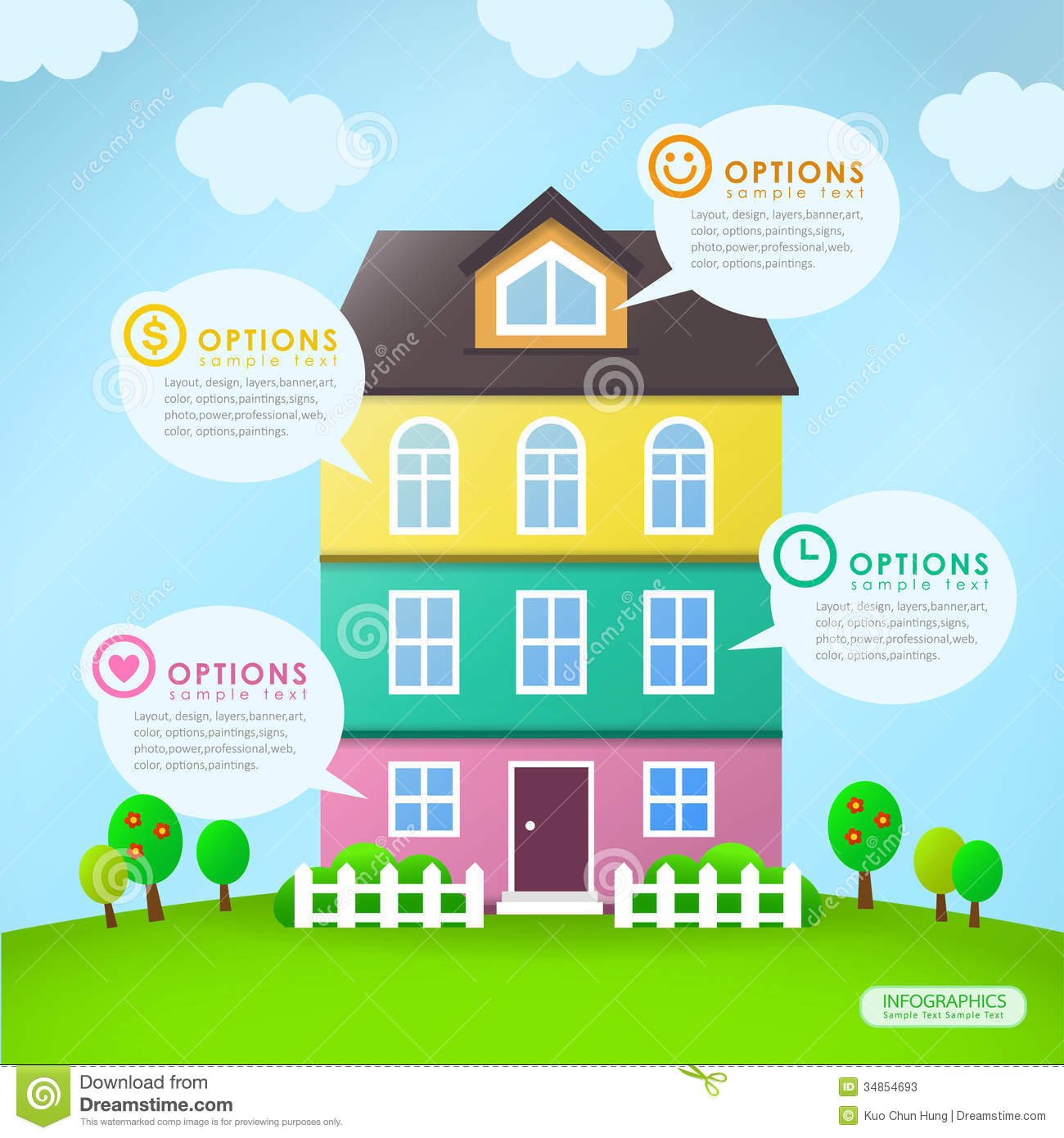 Abstract House Infographics Design Stock Vector