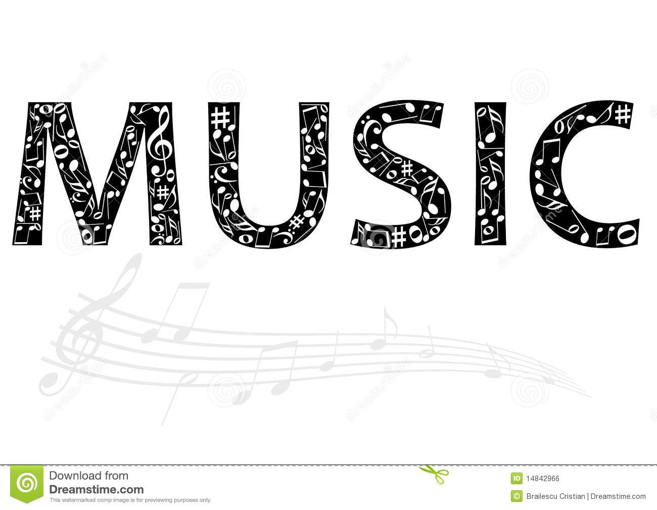 Abstract Illustration Of The Music Word With Music Stock