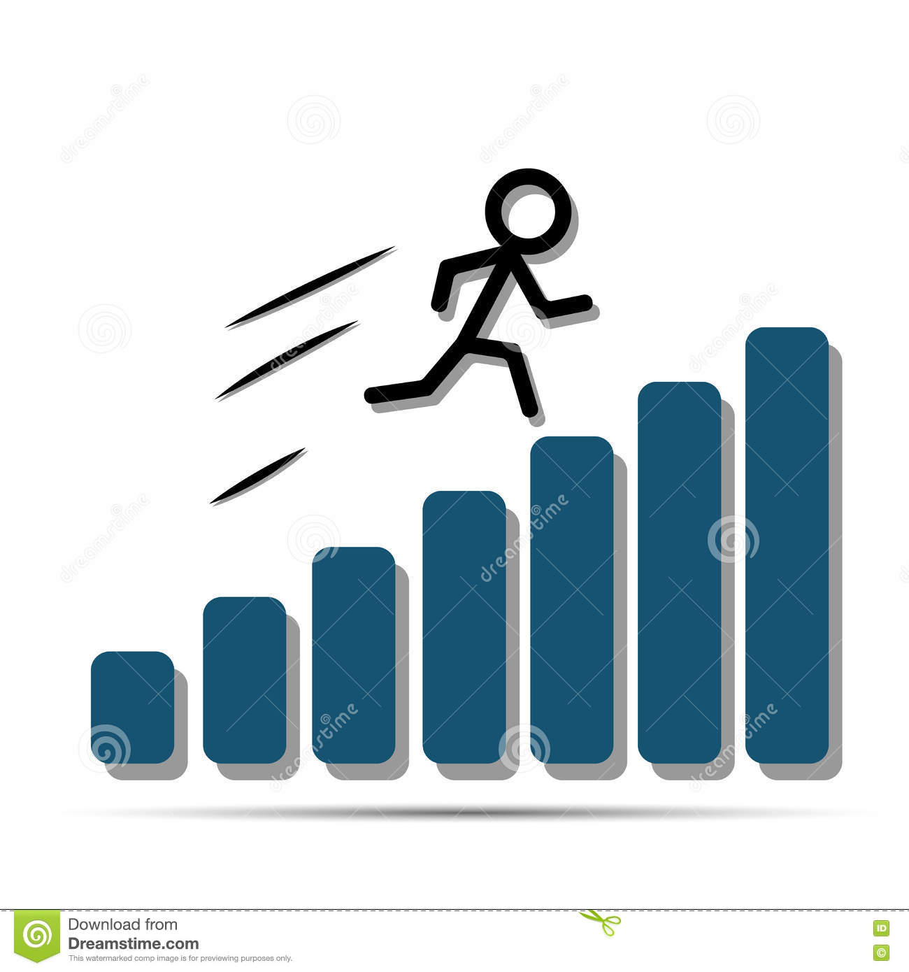 hight resolution of abstract man quickly moves on the growing diagram bars vector abstract man diagram