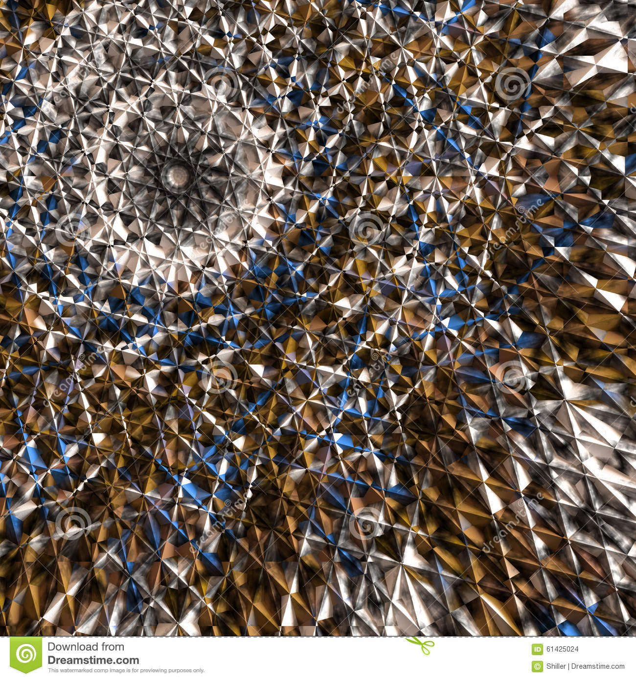 Abstract Mandala In Brown Blue And White Colors