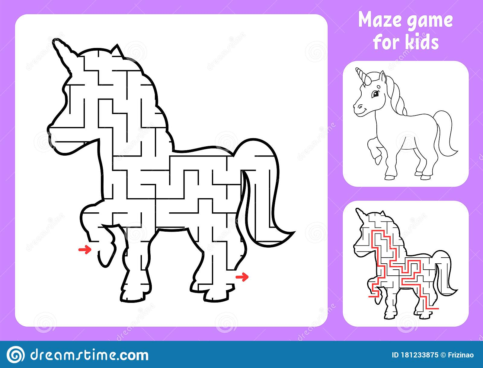 Abstract Maze Magical Unicorn Game For Kids Puzzle For