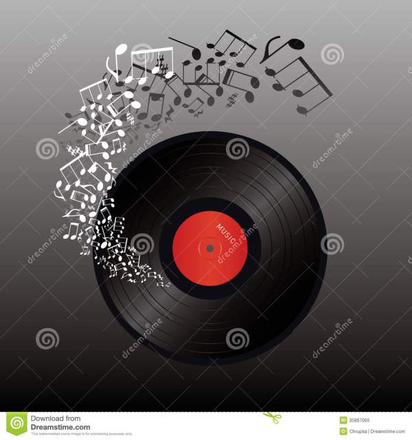 Abstract Music Illustration- Vinyl And Note Stock