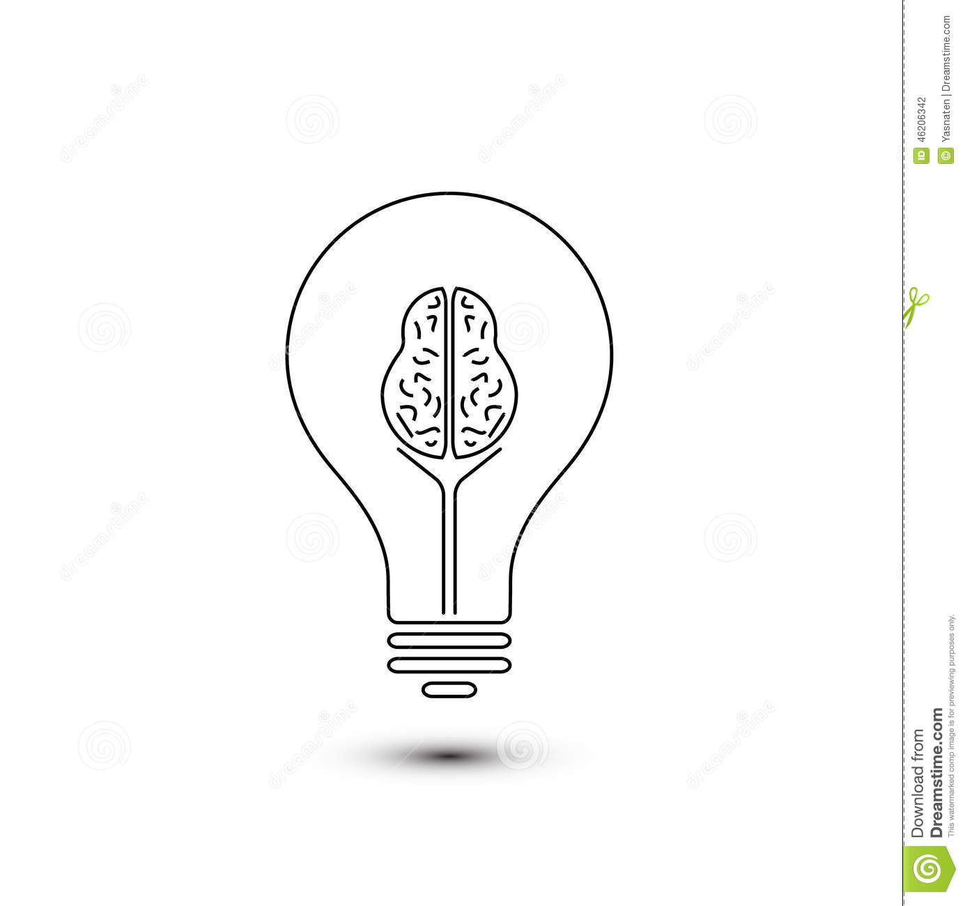 Abstract Outline Brain Light Bulb Stock Vector