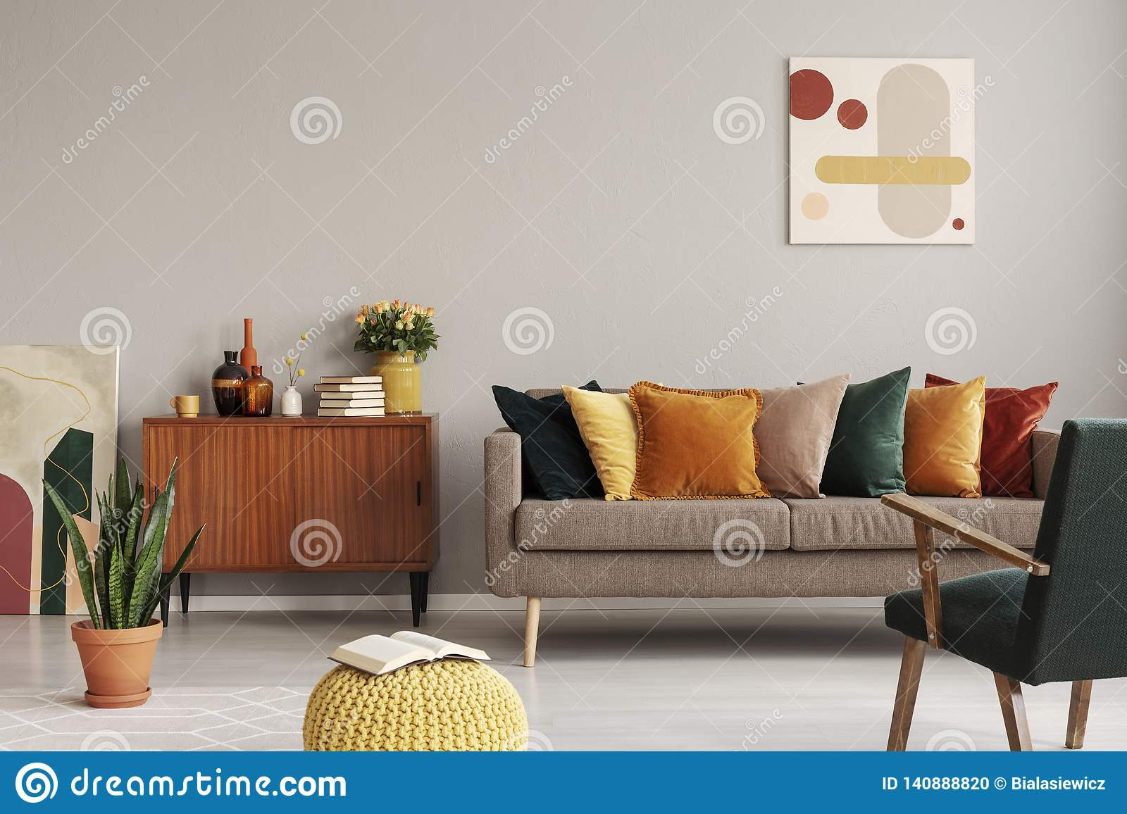 Abstract Painting On Grey Wall Of Retro Living Room Interior